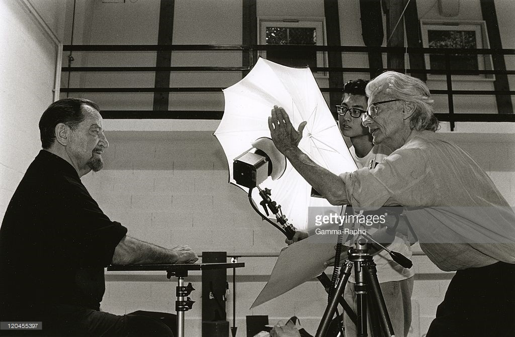 SWITZERLAND - SEPTEMBER 04: Richard Avedon and Maurice Brjart in Lausanne, Switzerland on September 04, 1998 - Richard Avedon shooting choreographer Maurice Bejart. (Photo by Philippe PACHE/Gamma-Rapho via Getty Images) Credit: Philippe PACHE / contributor
