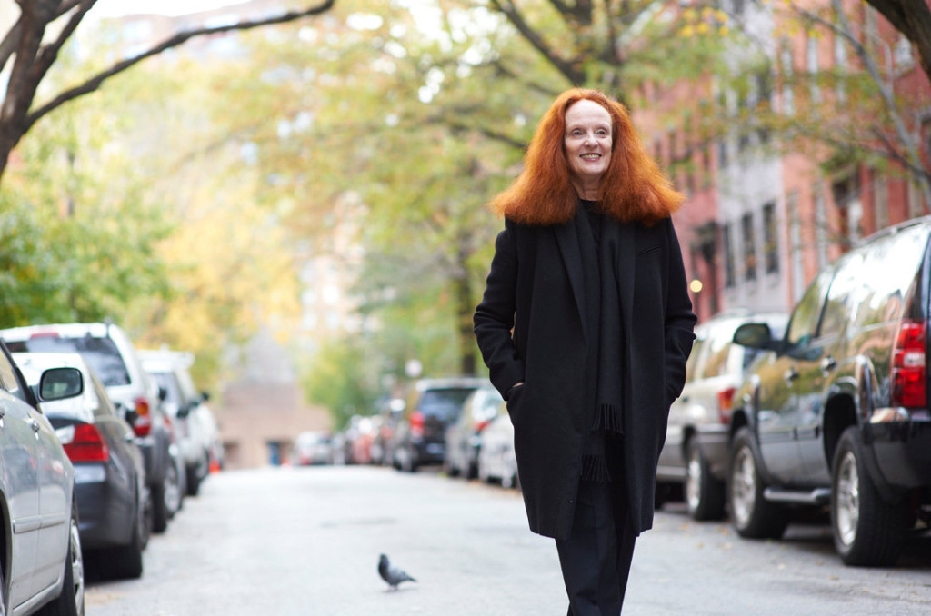 Grace Coddington on West 12th Street in New York. Credit Greg Kessler for the New York Times