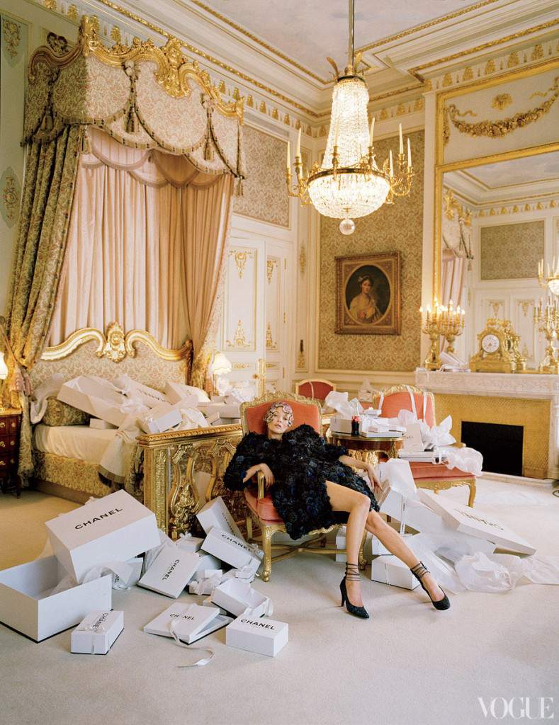 Beautiful and opulent shoot of Kate Moss at The Ritz in Paris, photographed by Tim Walker and styled by Grace Coddington for Vogue US April 2012 issue.