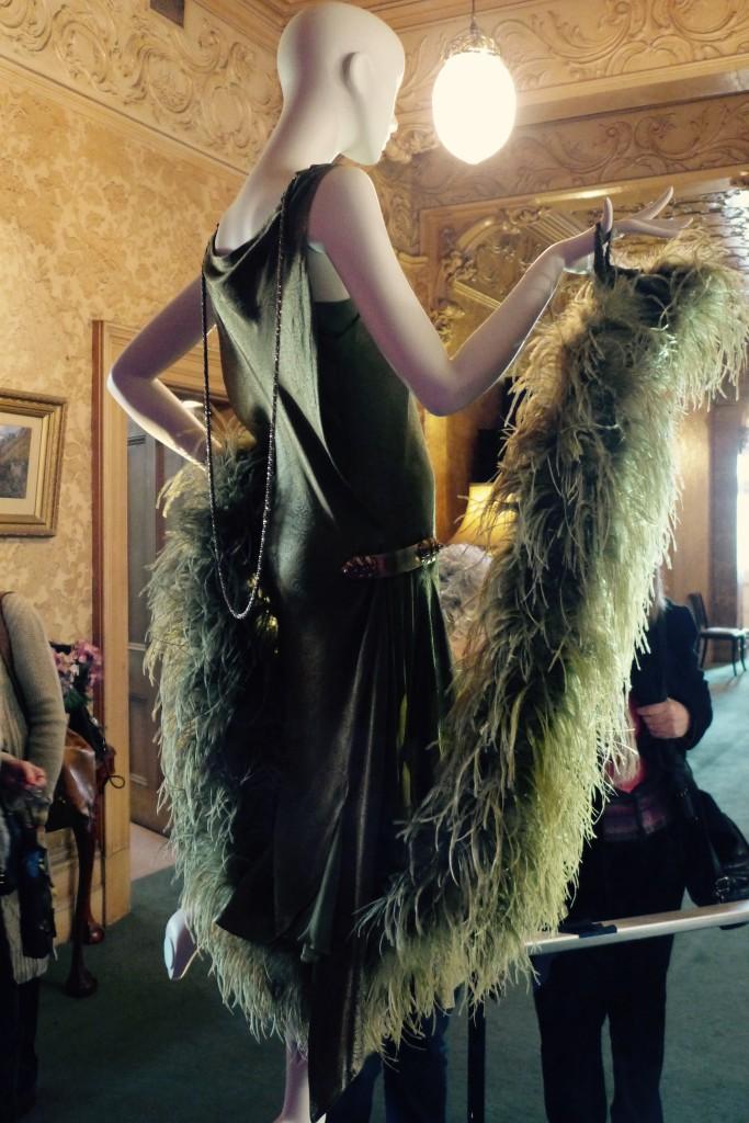 'Death at the Grand'.  Olive embossed original silk bias cut, silk chiffon inserts.