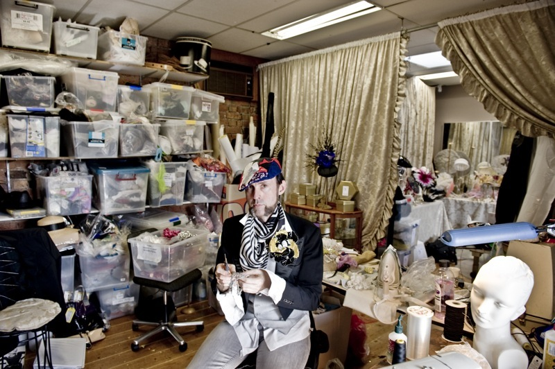 Richard Nylon in his studio, source: 'The professional dandy and celebrated milliner Richard Nylon', from theloupe.org posted by Monty, 26 February 2010