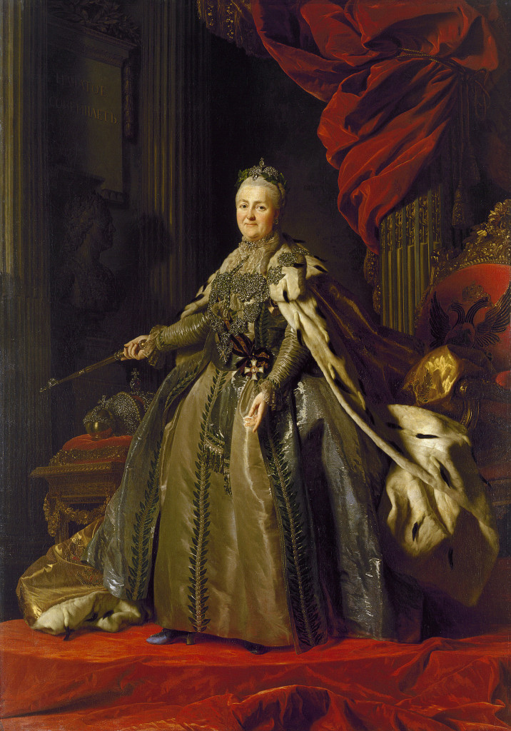 Alexander ROSLIN Swedish 1718–93 Portrait of Catherine II 1776–77 oil on canvas 271.0 х 189.5 cm The State Hermitage Museum, St Petersburg (Inv. no. ГЭ- 1316) Acquired from the artist, 1777
