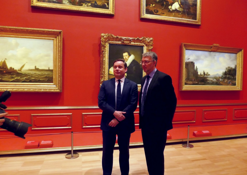 NGV Director Tony Ellwood with Dr Mikhail Dedinkin Deputy Head of the Western Art Department State Hermitage Museum at the Media Preview