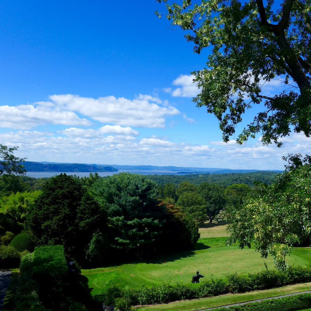 View of the Hudson River from the terrace lawn