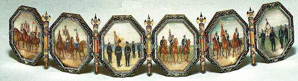 Folding screen of six miniatures each representing a regiment of which the Dowager Empress was honorary cornel