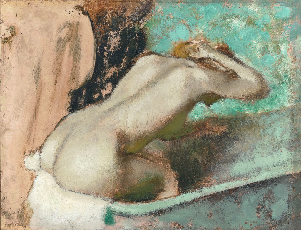 Edgar Degas Woman seated on the edge of the bath sponging her neck 1880–95 oil and essence on paper mounted to canvas 52.2 x 67.5 cm Musée d'Orsay, Paris (RF 1989 2) © RMN-Grand Palais (Musée d'Orsay) / Hervé Lewandowski