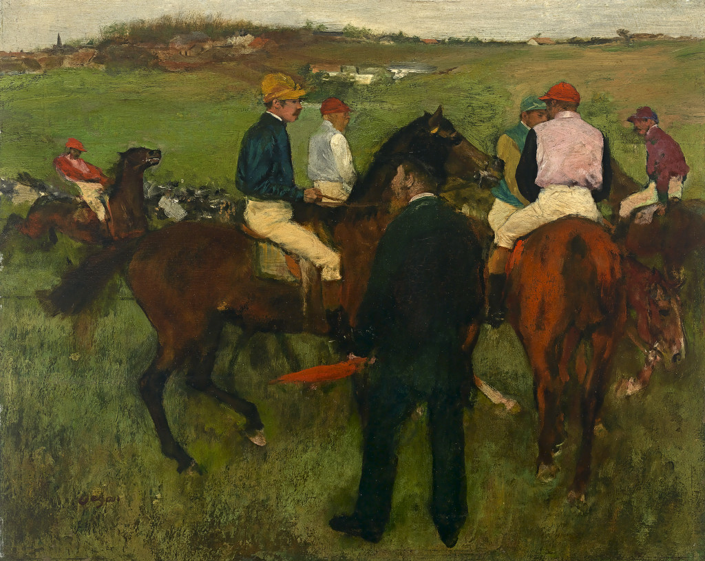 Edgar Degas Out of the paddock (Racehorses) c. 1871–72, reworked c. 1874–78 oil on wood panel 32.5 x 40.5 cm Private collection