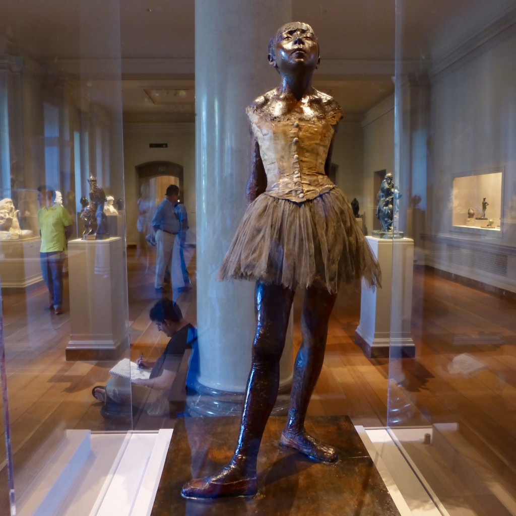 'Little Dancer aged Fourteen' pigmented beeswax, clay, metal armature, rope, paintbrushes, human hair, silk and linen ribbon cotton faille bodice, cotton and silk tutu, linen slippers, on wooden base.    The National Gallery of Washington DC  Photograph:  GRACIE