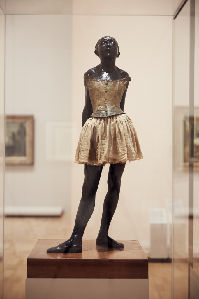 Edgar Degas The little fourteen-year-old dancer 1879–81, cast 1922–37 bronze with cotton skirt and satin ribbon 99.0 x 35.2 x 24.5 cm Czestochowski/Pingeot 73 (cast unlettered) Museu de Arte de São Paulo, Assis Chateaubriand Donated by Alberto José Alves, Alberto Alves Filho and Alcino Ribeiro de Lima (426 E)