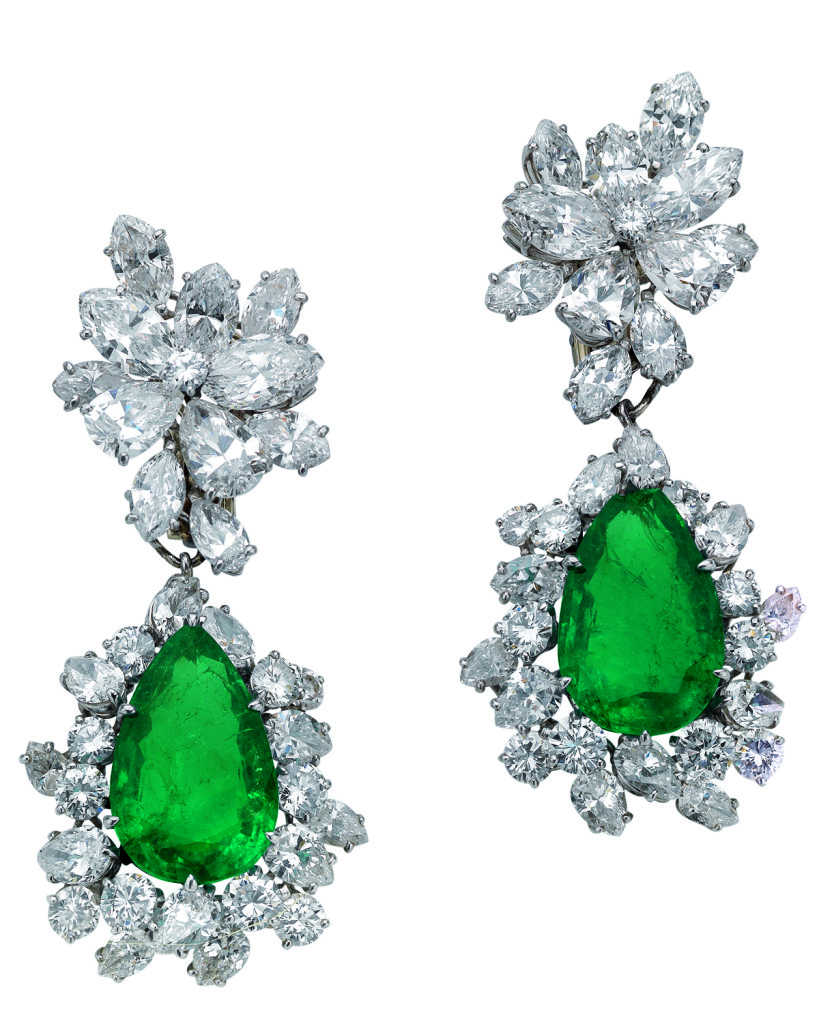 Bulgaria Earrings in Platinum with Emeralds and Diamonds 1964