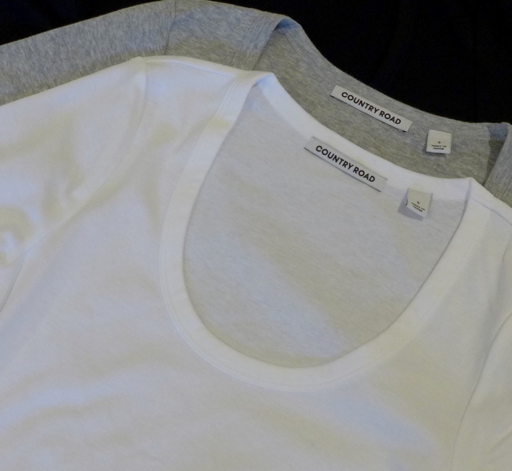 Country Road T Shirt in white featuring neckline and finish  Photograph:  GRACIE