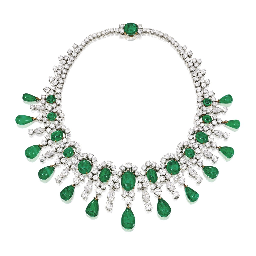 A Platinum, 18 Karat Gold, Emerald and Diamond Necklace, Bulgari, 1959 from the Estate of Brooke Astor  Photograph:  Courtesy Southerby's