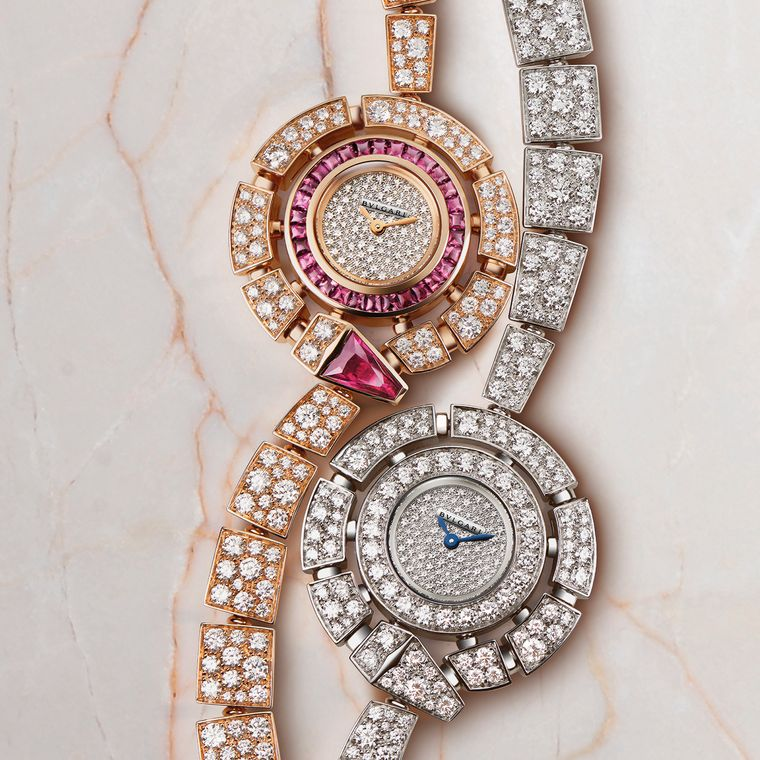 Bulgaria Serpenti Incanti watches in pink and white gold, featuring a stylised serpent coiled around the dial