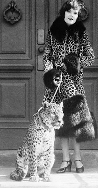 American actress Marian Nixon with her pet leopard.  Photograph:  Google images