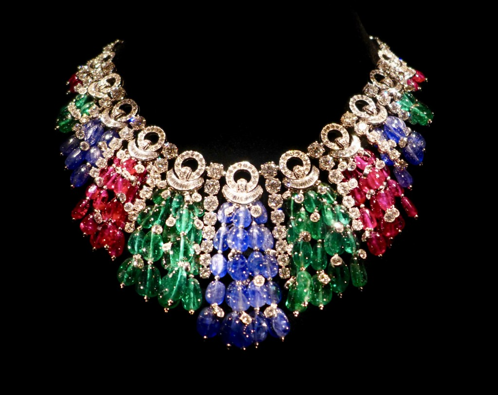 Bulgari necklace created in 2011 comprising gold (white) emeralds, sapphires, rubies and diamonds   Photograph:  GRACIE