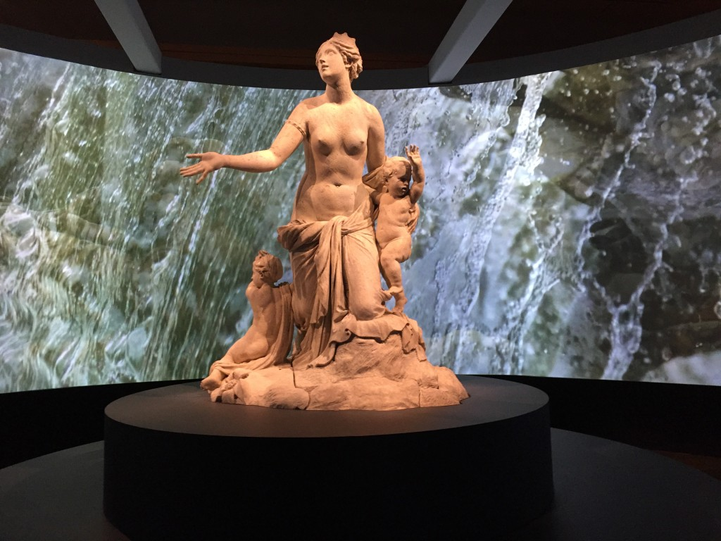 Marble statue of Latona and her Children which forms the centre piece of the Latona Founding on the main access to the Versailles Gardens  Photograph:  GRACIE
