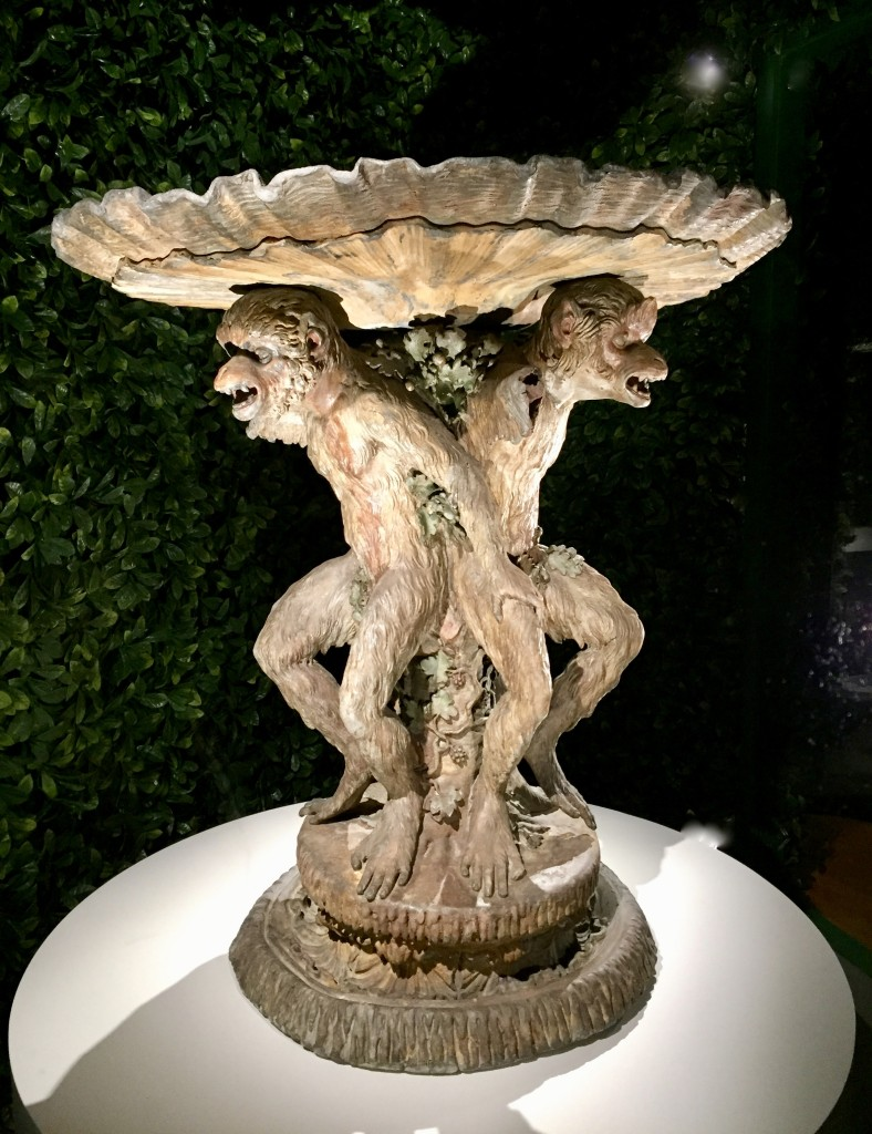 The monkey and his little ones.  Painted lead.  Gardens at Versailles  Photograph:  GRACIE