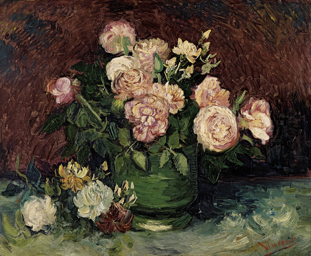 Vincent van Gogh Dutch 1853–90 Roses and peonies June 1886 Paris oil on canvas 59.8 x 72.5 cm Kröller-Müller Museum, Otterlo © Collection Kröller-Müller Museum, Otterlo, the Netherlands  Photograph:  NGV