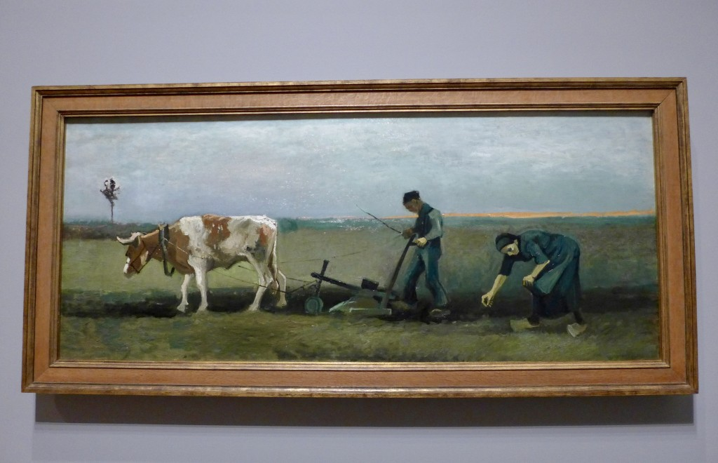 Vincent Van Gogh 'Planting potatoes' 1884 Nuenen  Oil on canvas.  Van der Heydt-Museum, Wuppertal, Germany   Photograph:  GRACIE