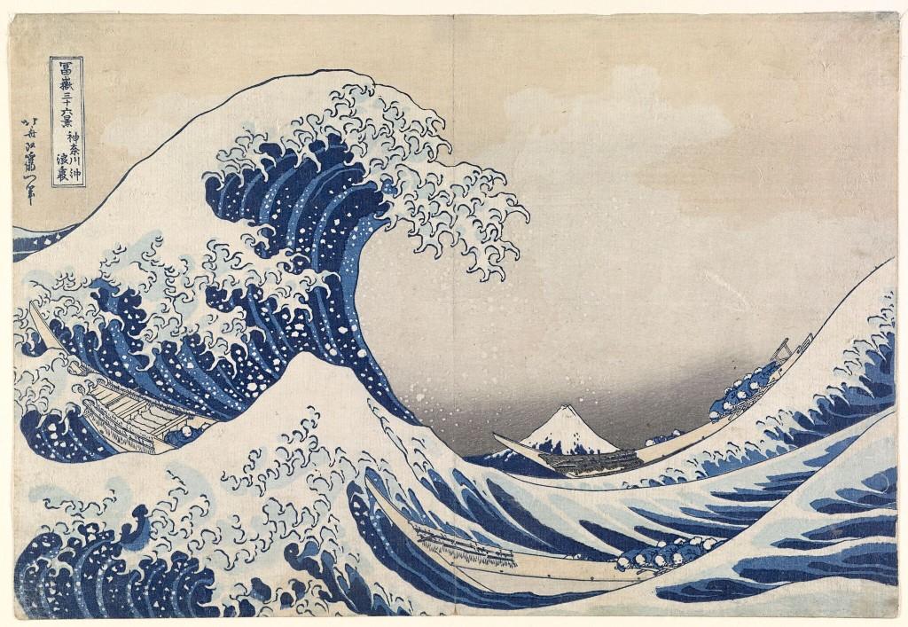 Katsushika HokusaiJapanese 1760–1849The great wave off Kanagawa(The great wave) (Kanagawa oki namiura) (1830–34)from the Thirty-six views of Mt Fuji(Fugaku-sanjū-rokkei) series colour woodblock25.7 × 37.7 cm (image and sheet)National Gallery of Victoria, Melbourne Felton Bequest, 1909 (426-2