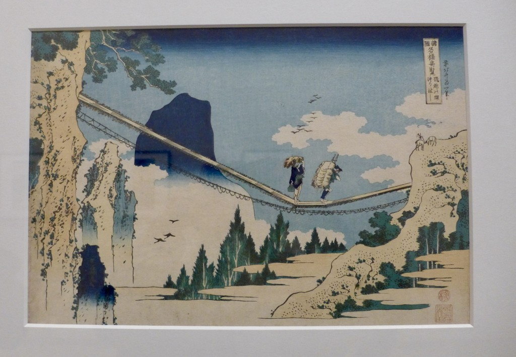 Hokusai:  Suspension bridge on the border of Hida and Etchu Provinces (c.1834)  Photograph:  GRACIE