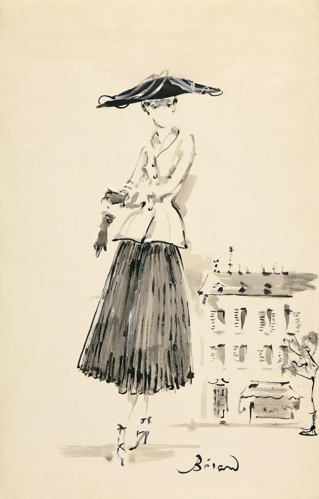 Christian Bérard Illustration of the Bar, afternoon ensemble 1947 Dior Heritage collection, Paris  © ADAGP, Paris 2016/Licensed by Viscopy, Sydney