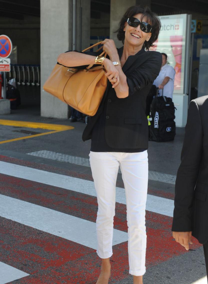 Ines de la Fressange steps out in white pants with added neutrals - oh la la!  Photograph source:  Pinterest