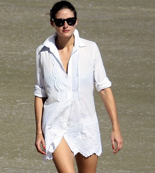 Olivia Palermo shows the coolness and ease of white beachside. Image: Pinterest
