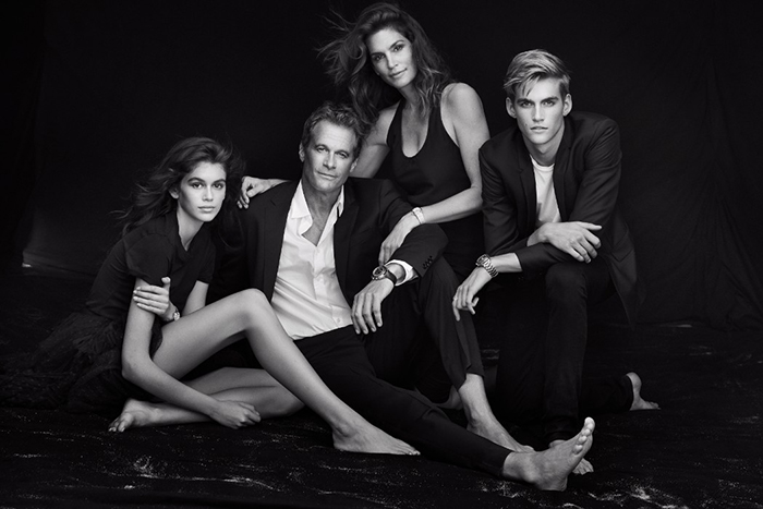 Gerber family L to R:  Kaia, Rande, Cindy and Presley  Photo Source:  Photo: Peter Lindbergh/Courtesy of Omega   Harpers Bazaar