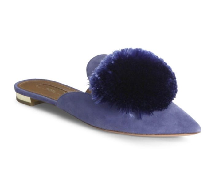 <strong>Aquazzura Powder Puff suede mules Image: Saks</strong>